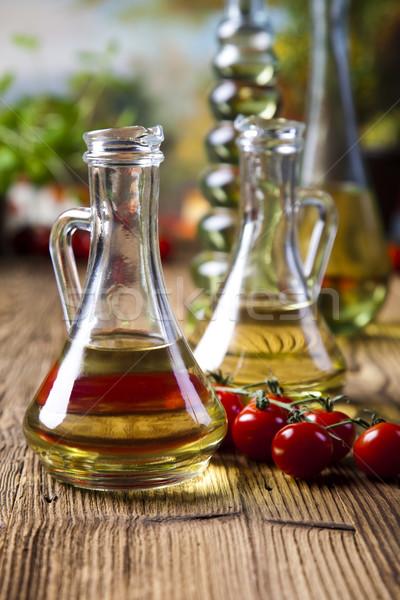 Olijfolie olieverf flessen middellandse zee landelijk blad Stockfoto © JanPietruszka