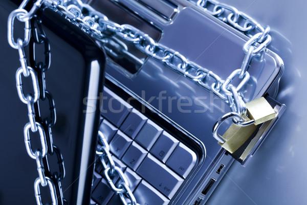 Foto stock: Trancado · móvel · computador · moderno · rede · símbolos