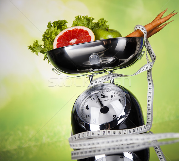 Esportes dieta caloria fita métrica fitness halteres Foto stock © JanPietruszka