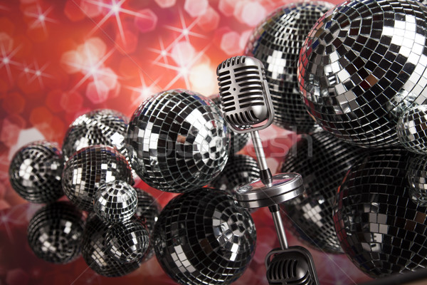 Foto d'archivio: Stile · retrò · microfono · suono · onde · discoteca