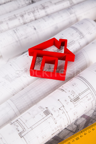 Architectural drawings and house concept Stock photo © JanPietruszka