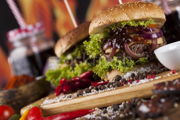 Houten bureau Rood vlees Stockfoto © JanPietruszka