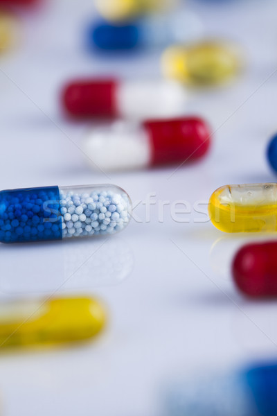 Composition with variety of drug pills background Stock photo © JanPietruszka