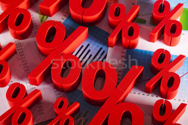 Percentage business teken Rood bank succes Stockfoto © JanPietruszka