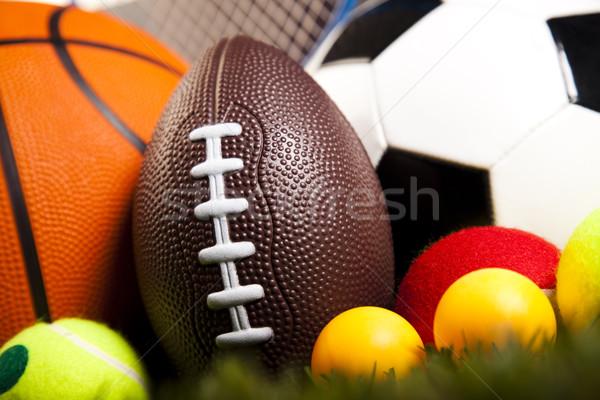 Sport uitrusting natuurlijke kleurrijk voetbal Stockfoto © JanPietruszka