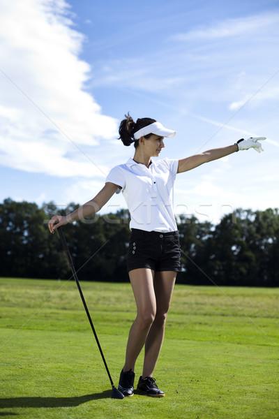Stok fotoğraf: Kadın · oynama · golf · alan · parlak · renkli