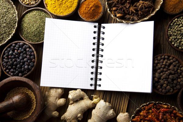 Yemek kitabı baharatlar mutfak canlı gıda Stok fotoğraf © JanPietruszka