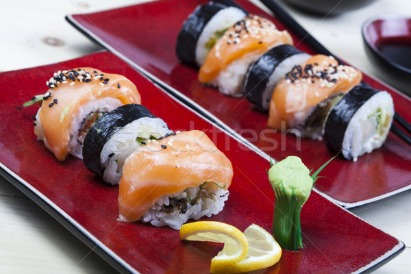 Sushi, oriental cuisine colorful theme Stock photo © JanPietruszka