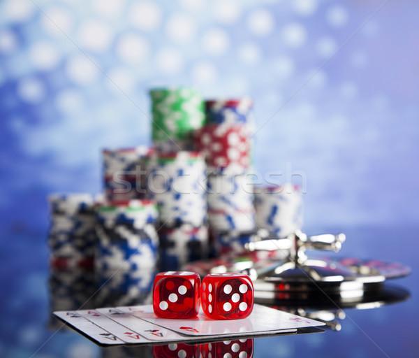Kaszinó rulett póker zsetonok játszik sültkrumpli jókedv Stock fotó © JanPietruszka