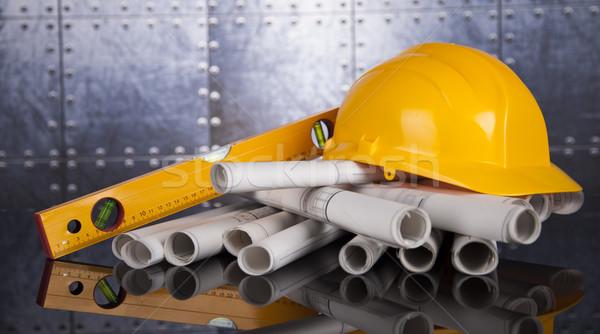 建設 計画 クレーン 黄色 ヘルメット 建物 ストックフォト © JanPietruszka