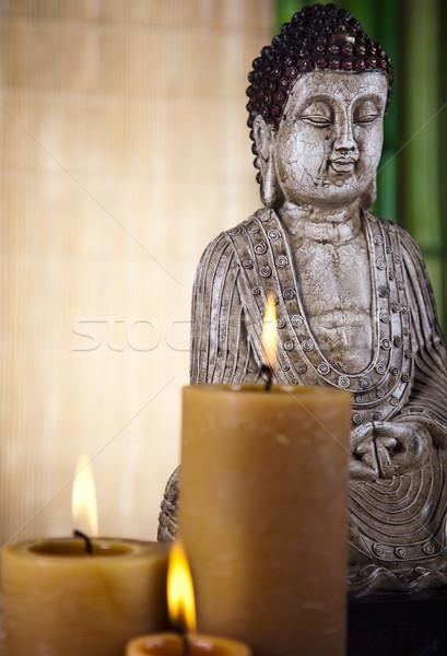 Buddha zen zon rook ontspannen aanbidden Stockfoto © JanPietruszka