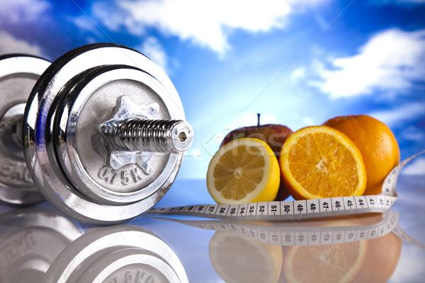フィットネス 青空 空 筋 脂肪 新鮮な ストックフォト © JanPietruszka
