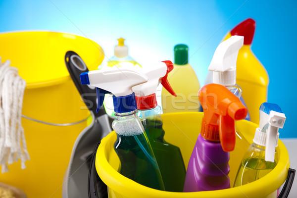 Stok fotoğraf: Grup · temizlik · çalışmak · ev · şişe · kırmızı