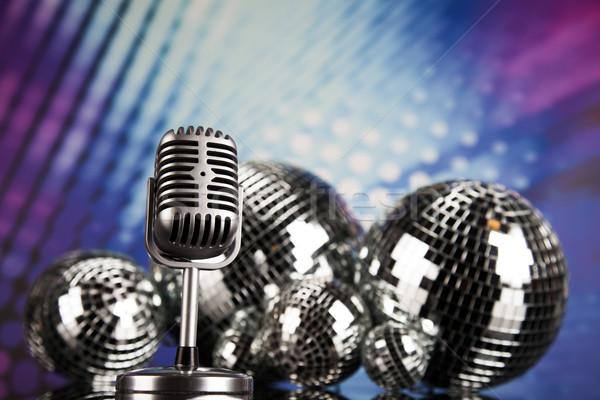 ретро-стиле микрофона звук волны дискотеку Сток-фото © JanPietruszka