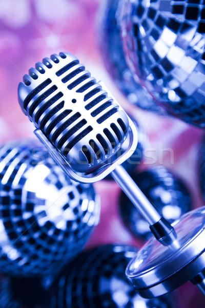 Music background, microphone and Disco Balls  Stock photo © JanPietruszka