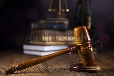 прав правосудия древесины молота белый судья Сток-фото © JanPietruszka