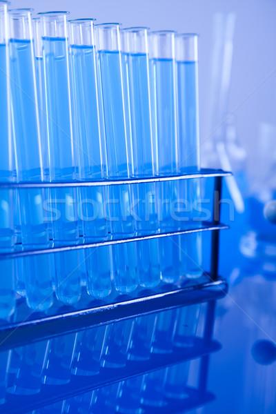 Chemicznych laboratorium wyroby szklane technologii szkła niebieski Zdjęcia stock © JanPietruszka