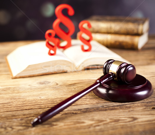 Paragraph, law theme, mallet of judge, wooden gavel Stock photo © JanPietruszka