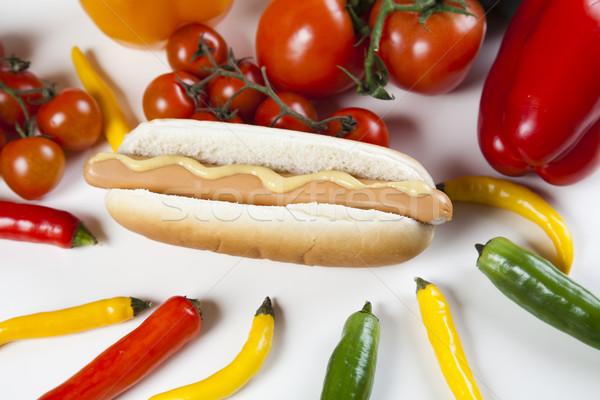 Isoliert hot dog hellen farbenreich lebendig Hintergrund Stock foto © JanPietruszka