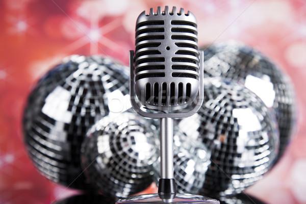 Zene mikrofon diszkó golyók retro háttér Stock fotó © JanPietruszka
