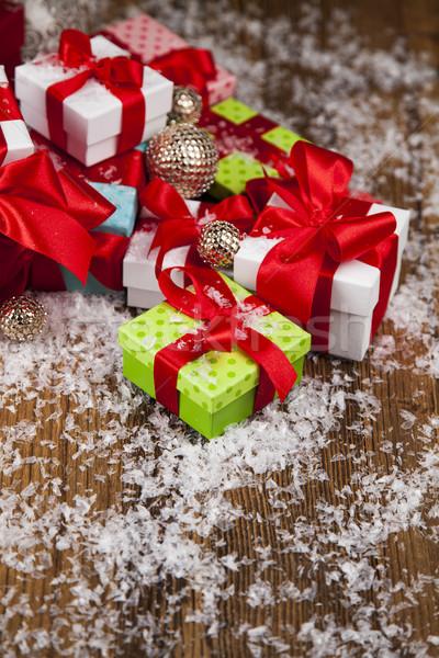 Christmas gift box and balls on snow Stock photo © JanPietruszka