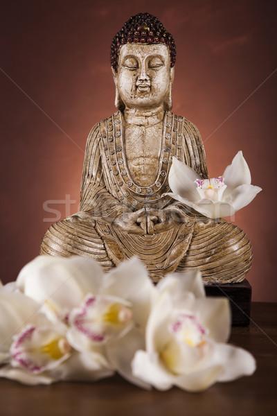 Stock foto: Buddha · Statue · Sonne · Rauch · entspannen