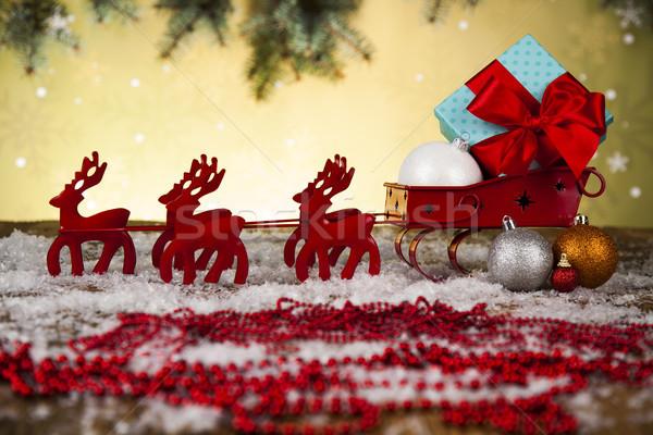 Slee geschenkdoos christmas sneeuw achtergrond Stockfoto © JanPietruszka
