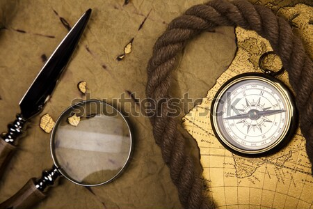 Stock photo: Vintage Navigation Equipment, compass