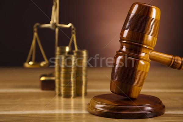 Foto stock: Lei · juiz · gabela · madeira · martelo