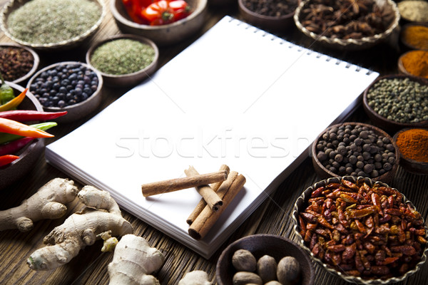 Cookbook and various spices, orintal cuisine vivid theme Stock photo © JanPietruszka