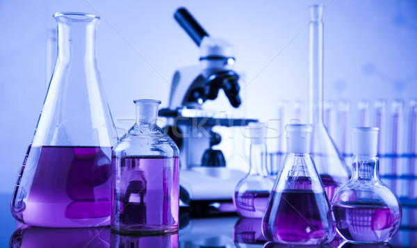 Microscope in medical laboratory glassware Stock photo © JanPietruszka