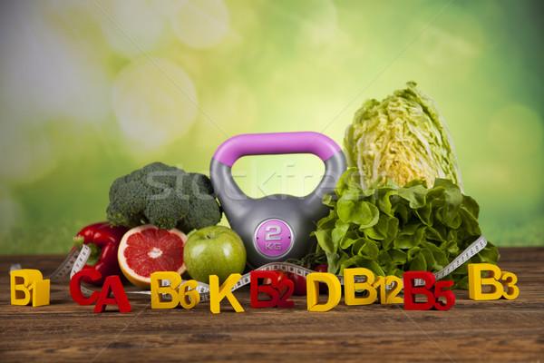 Fitness vitamina frutas frescas vegetal saúde esportes Foto stock © JanPietruszka