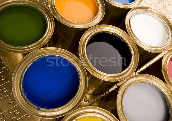 Foto d'archivio: Vernice · pennello · luminoso · colorato · pennello · abstract