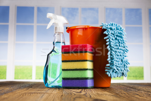 Group of assorted cleaning and window background Stock photo © JanPietruszka