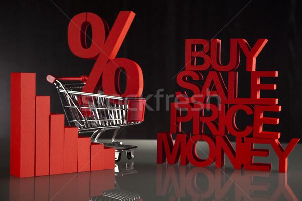 Stock photo: Shopping supermarket cart, percent sign