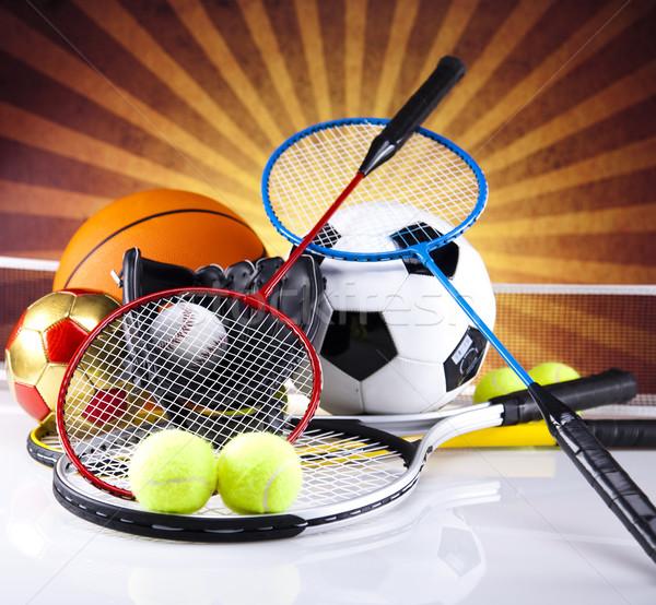 Equipamentos esportivos luz do sol futebol esportes laranja tênis Foto stock © JanPietruszka