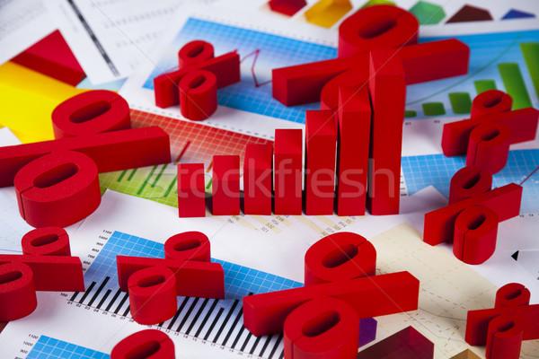Percentage natuurlijke kleurrijk teken Rood financieren Stockfoto © JanPietruszka