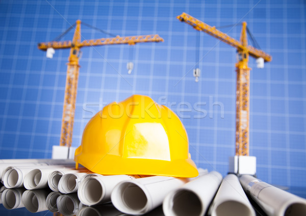Project drawings, building and cranes under construction Stock photo © JanPietruszka