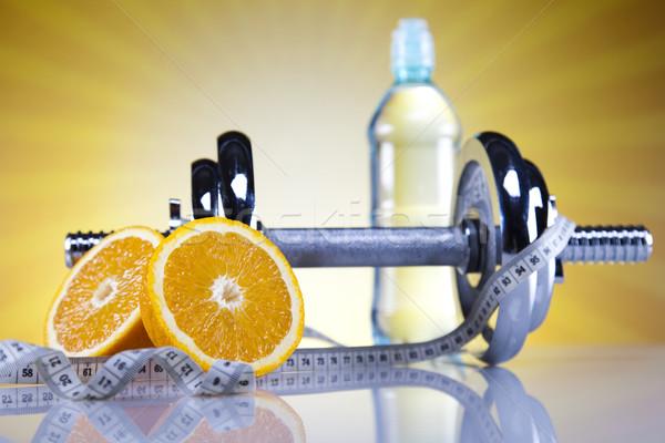 Stock fotó: Sport · diéta · kalória · mérőszalag · étel · fitnessz