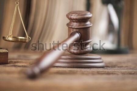 Recht justitie juridische code hamer rechter Stockfoto © JanPietruszka