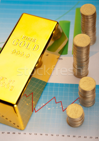 Gold and coins, ambient financial concept Stock photo © JanPietruszka