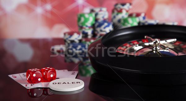 Rulett hazárdjáték kaszinó asztal jókedv fekete Stock fotó © JanPietruszka