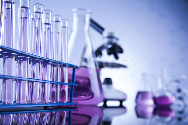 Laboratorio trabajo lugar microscopio cristalería educación Foto stock © JanPietruszka