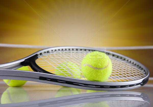 Teniszütő labda háttér szolgáltatás játék profi Stock fotó © JanPietruszka