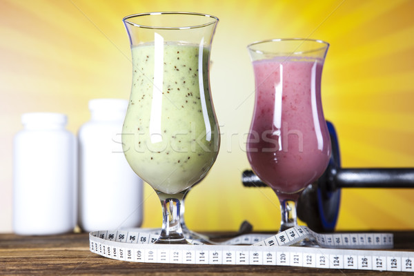 Stock photo: Milk shakes, sport and fitness