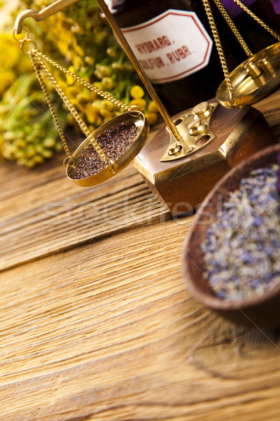 ストックフォト: ハーブ · 薬 · ヴィンテージ · 木材 · 自然 · 美