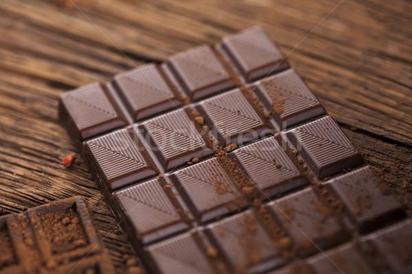 ストックフォト: 暗い · 自家製 · チョコレート · バー · ポッド · 木製
