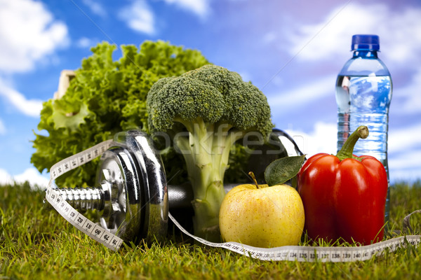 Stock photo: Fitness Food and green grass