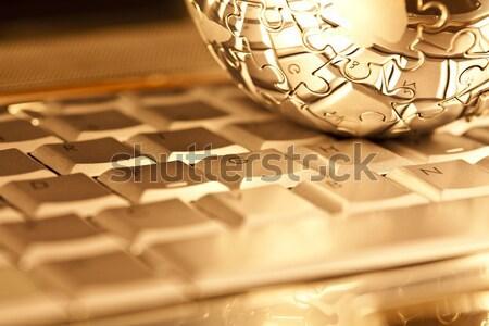 Földgömb világ modern hálózat szimbólumok üzletember Stock fotó © JanPietruszka