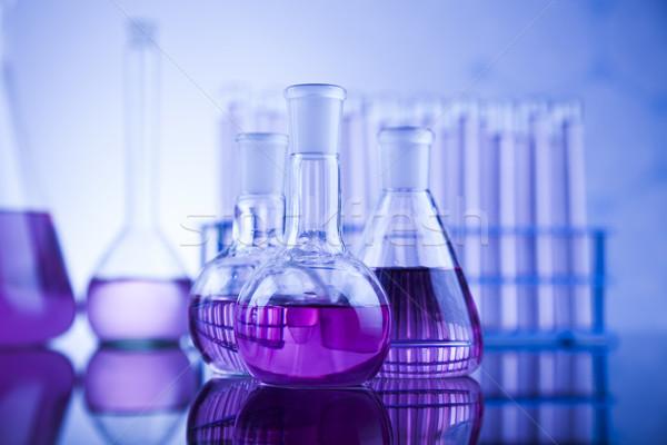 Ciência químico laboratório artigos de vidro saúde azul Foto stock © JanPietruszka